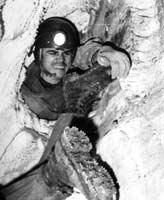 Толя Губарь в пещере