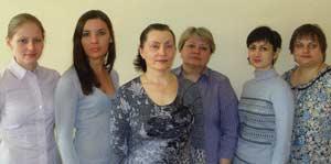 Слева направо: О. М. Легощина, Н. А. Корниясова, О. А. Неверова (зав. лаб.). И. Н. Егорова. О. Л. Цандекова, Е. Ю. Колмогорова