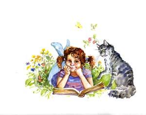 Девочка Маша и кошка Манька