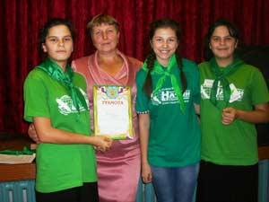 На фото (слева направо): Настя Мякушко, Наталья Королькова, Настя Небылица и Катя Мякушко.