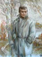 Г.Ф. Бурков. Портрет Л.С. Мерзликина. Картон, пастель, уголь, 2007 г.